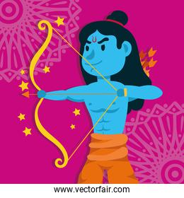 happy dussehra celebration with lord rama blue