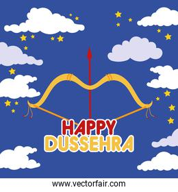 happy dussehra celebration with arch arrow in sky