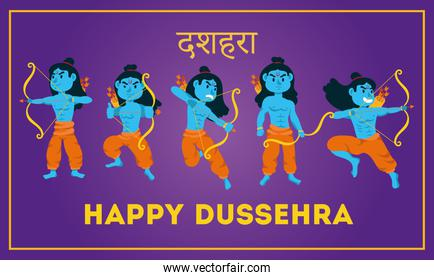 happy dussehra lettering with lords ramas blue characters