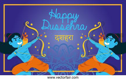 happy dussehra celebration lettering with lords ramas blue characters
