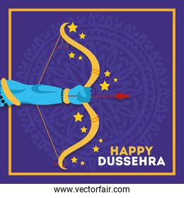 happy dussehra celebration with lord rama hand and arch weapon