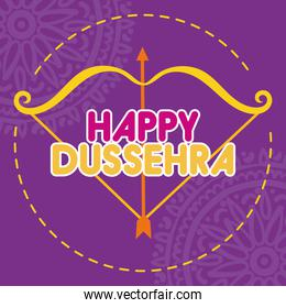happy dussehra celebration with arch arrow and mandalas