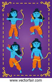 happy dussehra celebration with lords ramas blue characters