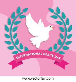 International Day of Peace lettering with dove in wreath crown