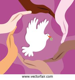 International Day of Peace lettering with dove and interracial hands around