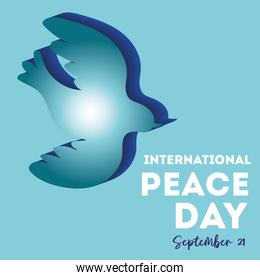 International Day of Peace lettering with dove silhouette