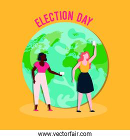 election day democracy with interracial girls with voting cards in earth planet