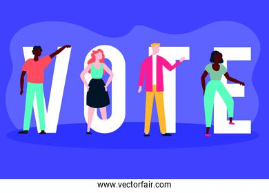 election day democracy with voter and vote letters
