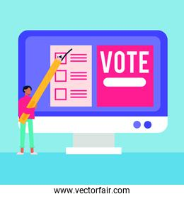 election day democracy with male voter and pencil in desktop