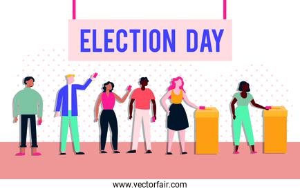 election day democracy with voters in voting boxes