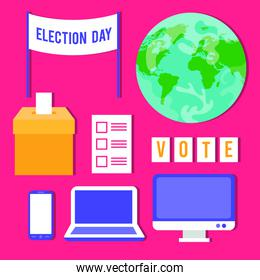 election day democracy with bundle set icons