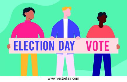 election day democracy with men interracial and banner