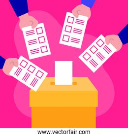 election day democracy with hands voting cards and box
