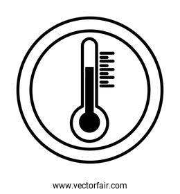 thermometer in seal stamp line style icon vector design