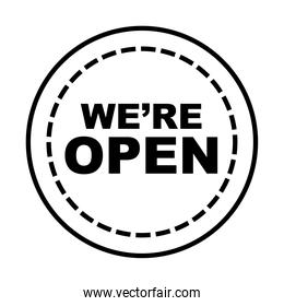 we are open seal stamp line style icon vector design