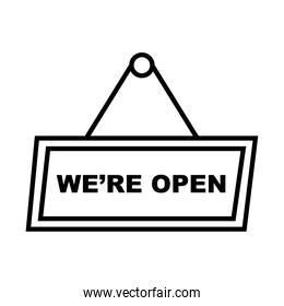 we are open banner line style icon vector design