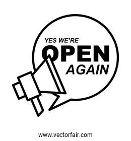 we are open bubble with megaphone line style icon vector design