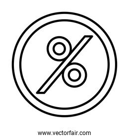 percentage in seal stamp line style icon vector design