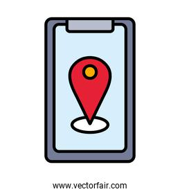 gps mark in smartphone line and fill style icon vector design