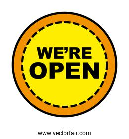 we are open seal stamp line and fill style icon vector design