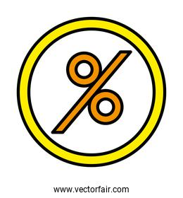 percentage in seal stamp line and fill style icon vector design