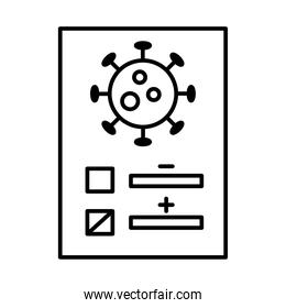 covid 19 virus on test paper line style icon vector design