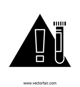 test tube and warning road sign silhouette style icon vector design