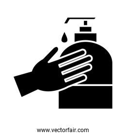 Hand washing with soap bottle silhouette style icon vector design