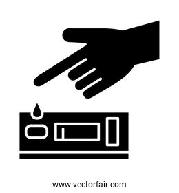 hand with drop and test silhouette style icon vector design