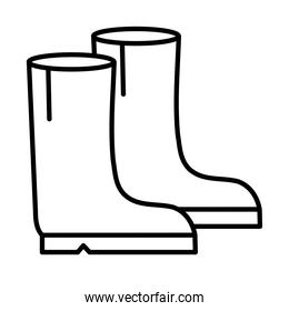 Gardening boots line style icon vector design