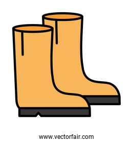 Gardening boots line and fill style icon vector design