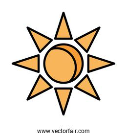 sun line and fill style icon vector design