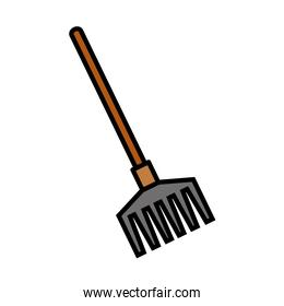 Gardening rake line and fill style icon vector design