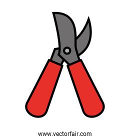 Gardening pliers line and fill style icon vector design