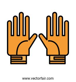 Gardening gloves line and fill style icon vector design