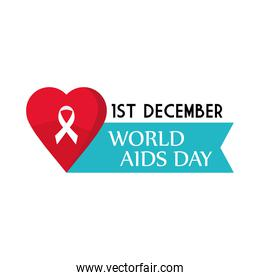 World aids day with ribbon on heart vector design