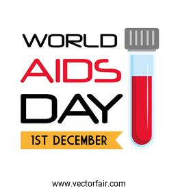 World aids day with tube vector design