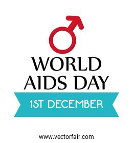 World aids day with male gender vector design