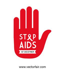 stop aids with ribbon on hand vector design