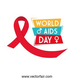 World aids day with ribbon female and male gender vector design
