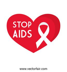 stop aids with ribbon on heart vector design