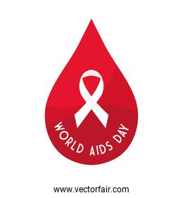 World aids day with ribbon in drop vector design