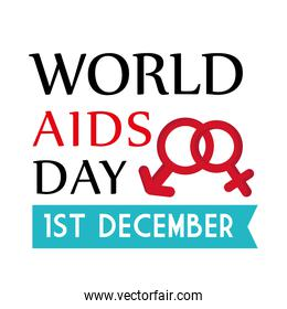 World aids day with female and male gender vector design