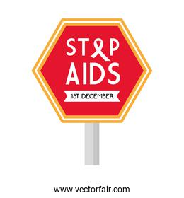 stop aids with ribbon on road sign vector design