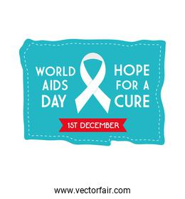 World aids day hope for a cure with ribbon on blue banner vector design