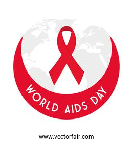 World aids day with ribbon vector design