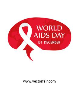 World aids day with ribbon on red banner vector design