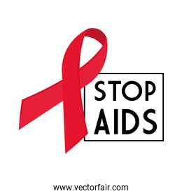 stop aids with ribbon vector design