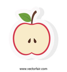 apple fruit sticker and flat style icon vector design