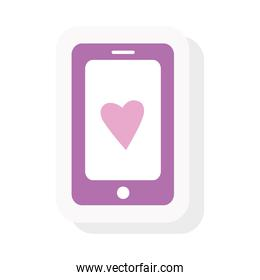 smartphone with heart sticker and flat style icon vector design